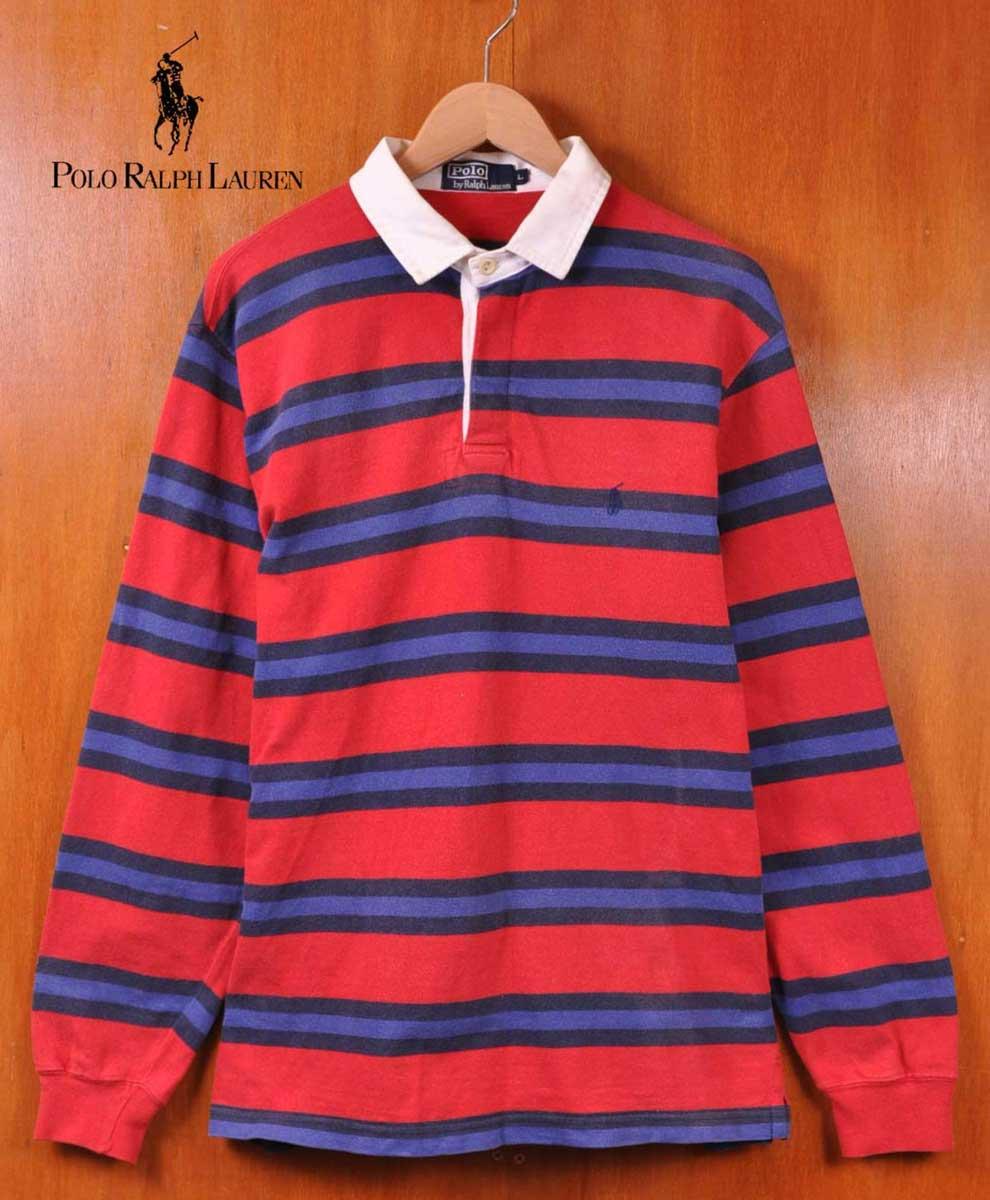 b3324c66238 Polo Ralph Lauren polo Ralph Lauren   long sleeves rugby shirt long sleeves  polo shirt   red X navy X blue horizontal stripes   men L▽