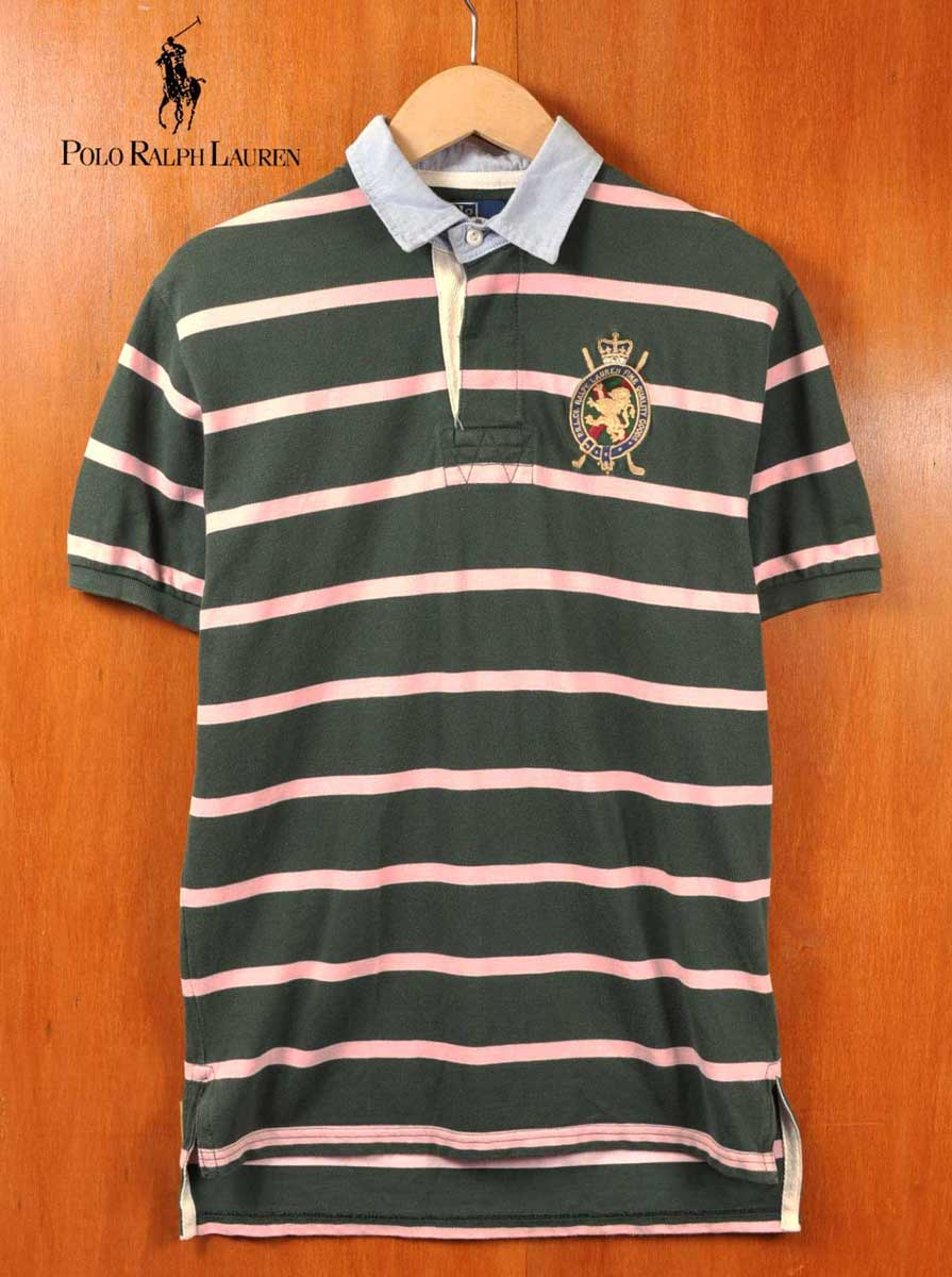 Polo Ralph Lauren Rugby Shirt Style Short Sleeves Dark Green X Pink Horizontal Stripes Chest Emblem Embroidery Men S