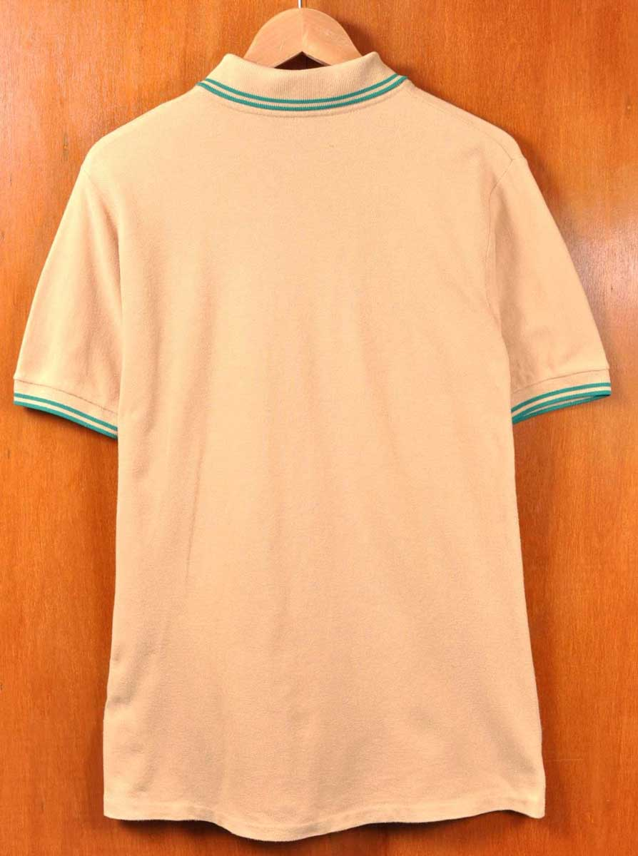 13f45dee FRED PERRY Fred Perry / short sleeves polo shirt / beige system base X  green rib line / 38 men's S equivalency in the vintage 1980s made in  England▽