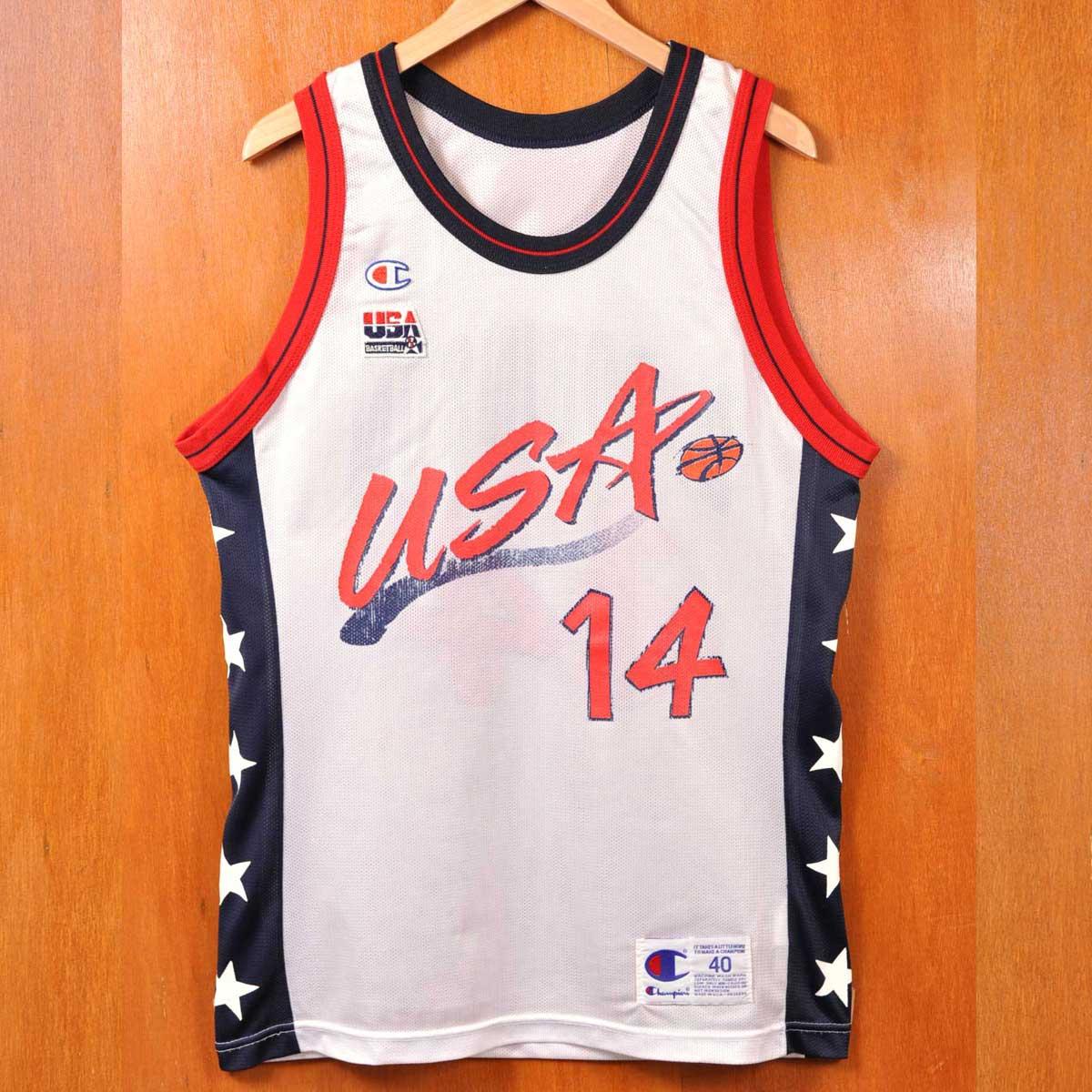 メンズL相当 状態:B USA製 a16 ヴィンテージ 1990年代 CHAMPION チャンピオン オリンピック バスケ グレン タンクトップ メンズS相当 数量限定アウトレット最安価格 ホワイト×ネイビー×レッド 中古 ドリームチーム ロビンソン マーケティング ユニフォーム
