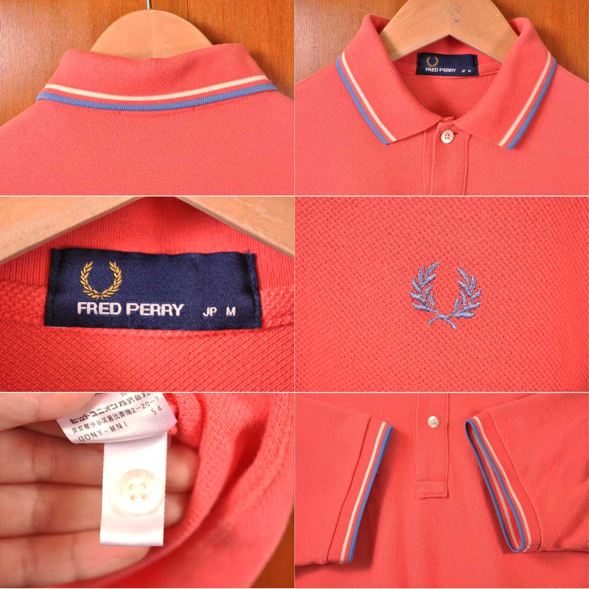 eb26760b ... FRED PERRY Fred Perry / short sleeves polo shirt / salmon pink system  base X