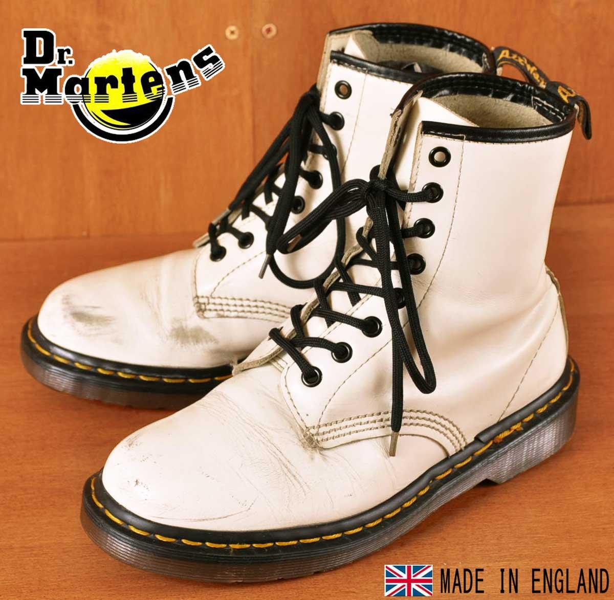 イングランド製 ヴィンテージ / Dr.martens ドクターマーチン / 8ホールブーツ / ホワイト レザー / UK5 JPN24.0cm【中古】▽