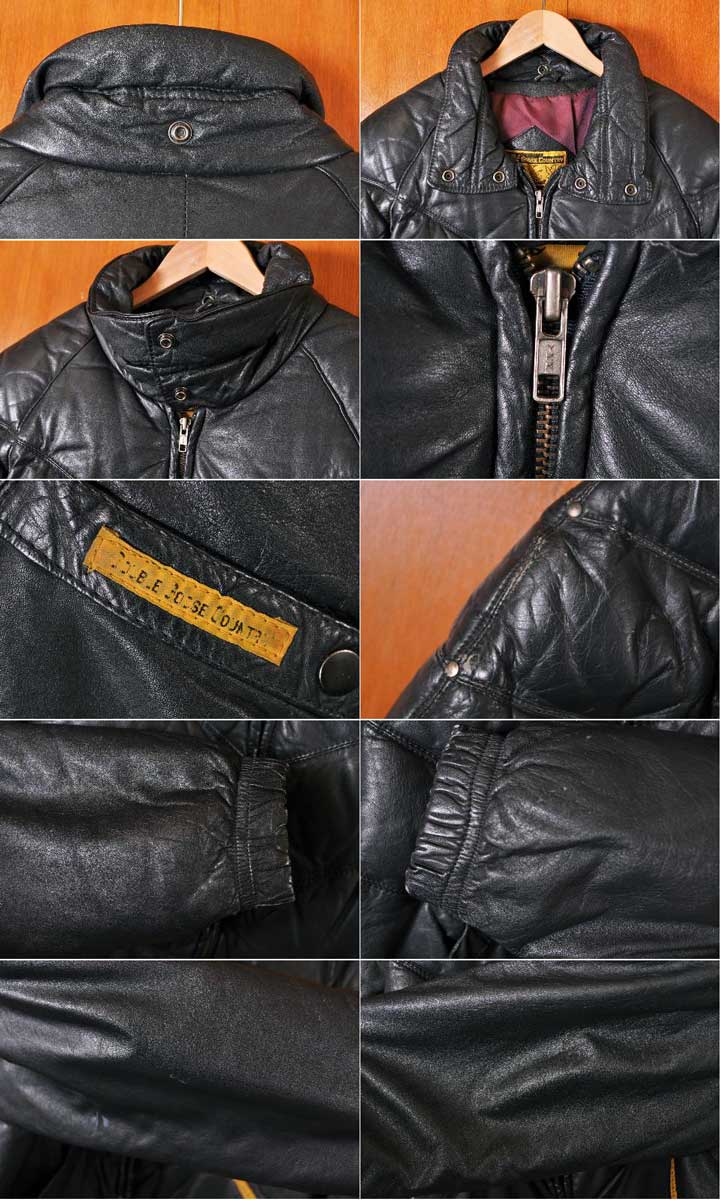 cf52fe1776c ... Vintage 1980s DOUBLE GOOSE COUNTRY double goose country leather down  jacket black leather men M equivalency ...