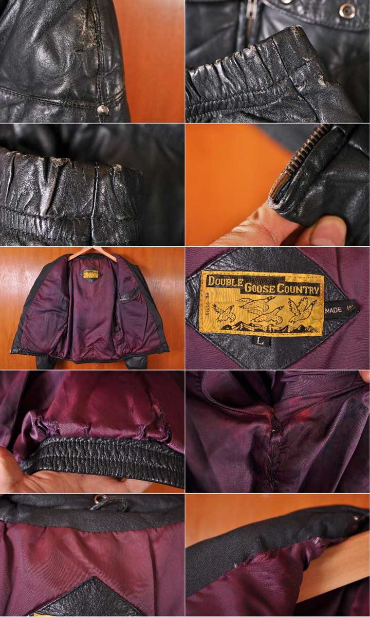 458fa18e443 ... Vintage 1980s DOUBLE GOOSE COUNTRY double goose country leather down  jacket black leather men M equivalency