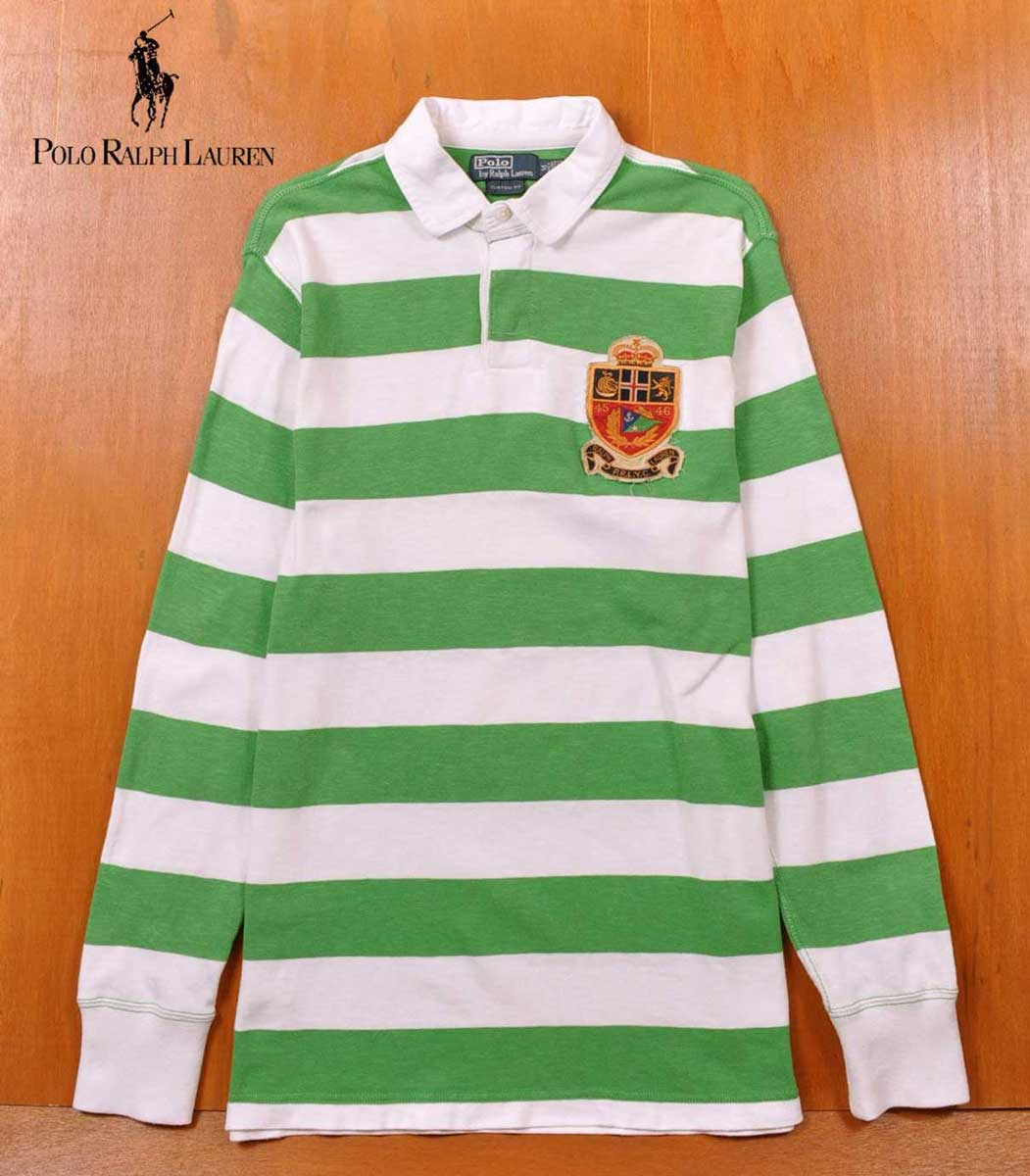 Horizontal Emblem Rugby Polo Shirt Green White Stripes Men X Long M Ralph Sleeves Lauren Chest EID2H9