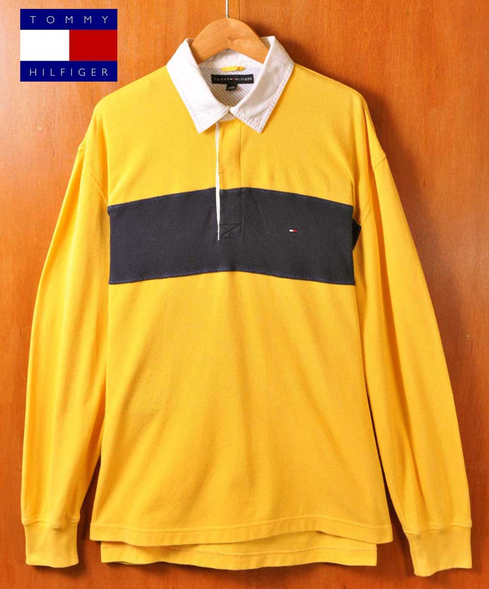 5ee8396de06 TOMMY HILFIGER トミーヒルフィガー long sleeves rugby shirt-style long sleeves polo  shirt yellow base ...