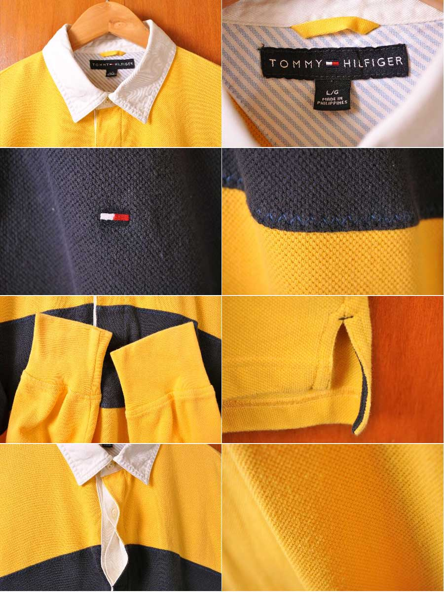 7b2771ba42c9d TOMMY HILFIGER トミーヒルフィガー long sleeves rugby shirt-style long sleeves polo  shirt yellow base X navy chest horizontal stripe men XL equivalency▽