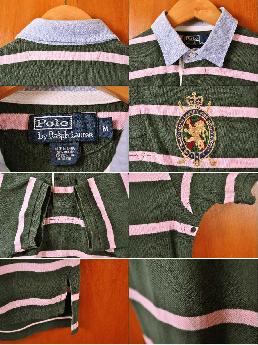 Polo Ralph Lauren Rugby Shirt Style Short Sleeves Dark Green X Pink Horizontal Stripes Chest Emblem Embroidery Men M