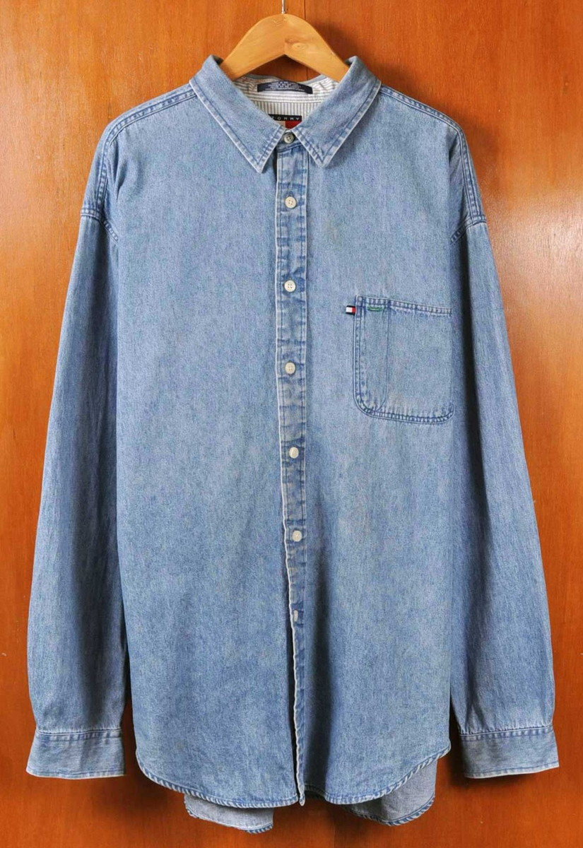 be521bf1 TOMMY JEANS Tommy jeans TOMMY HILFIGER トミーヒルフィガーダンガリーシャツ long sleeves shirt  denim blue men 2XL▽