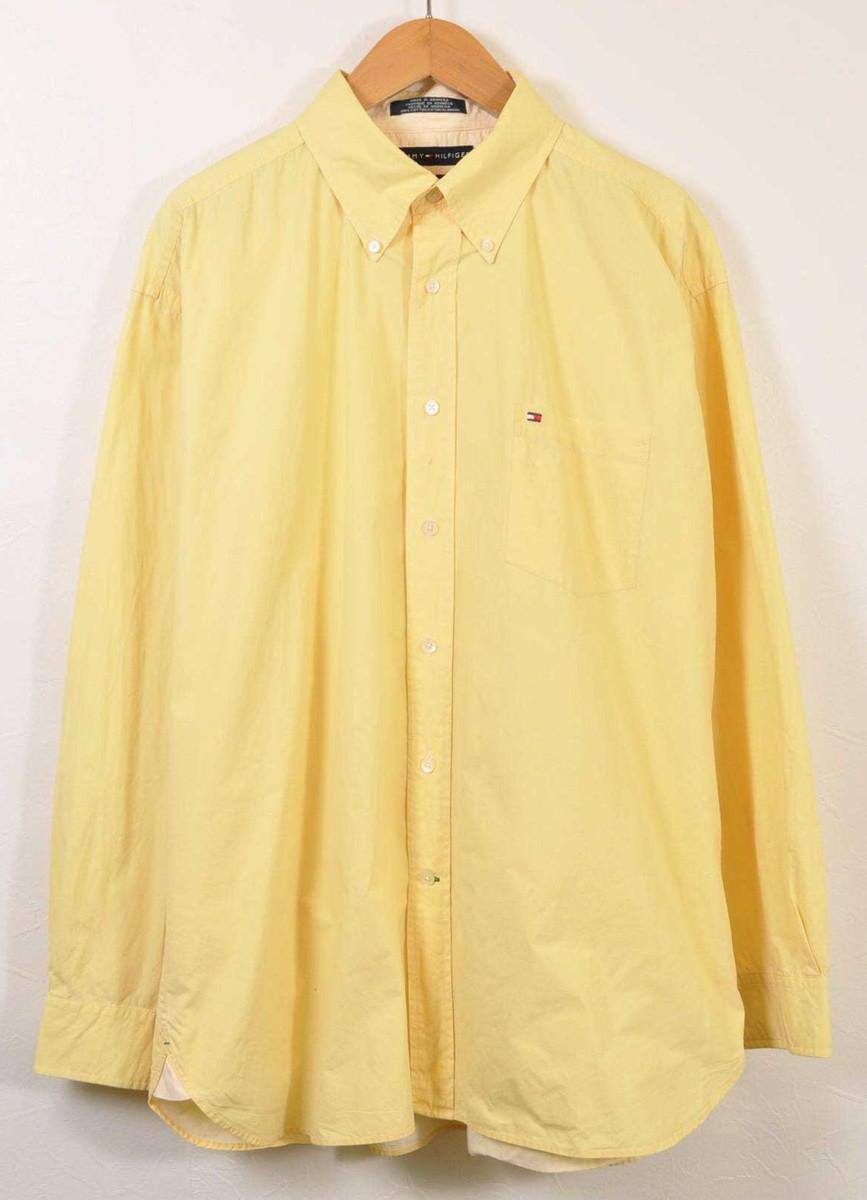 cbd5cf6e TOMMY HILFIGER トミーヒルフィガー long sleeves shirt yellow men 2XL equivalency□