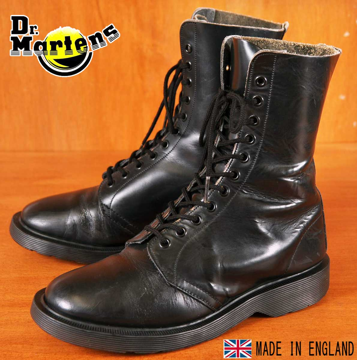 イングランド製 ヴィンテージ ホワイト社製 Dr.martens ドクターマーチン 11ホールブーツ ブラック レザー UK4 JPN23.0cm【中古】▼