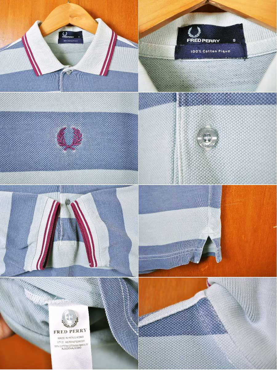 ebf3e10b ... FRED PERRY Fred Perry short sleeves polo shirt fresh water color X 淡  blue X magenta