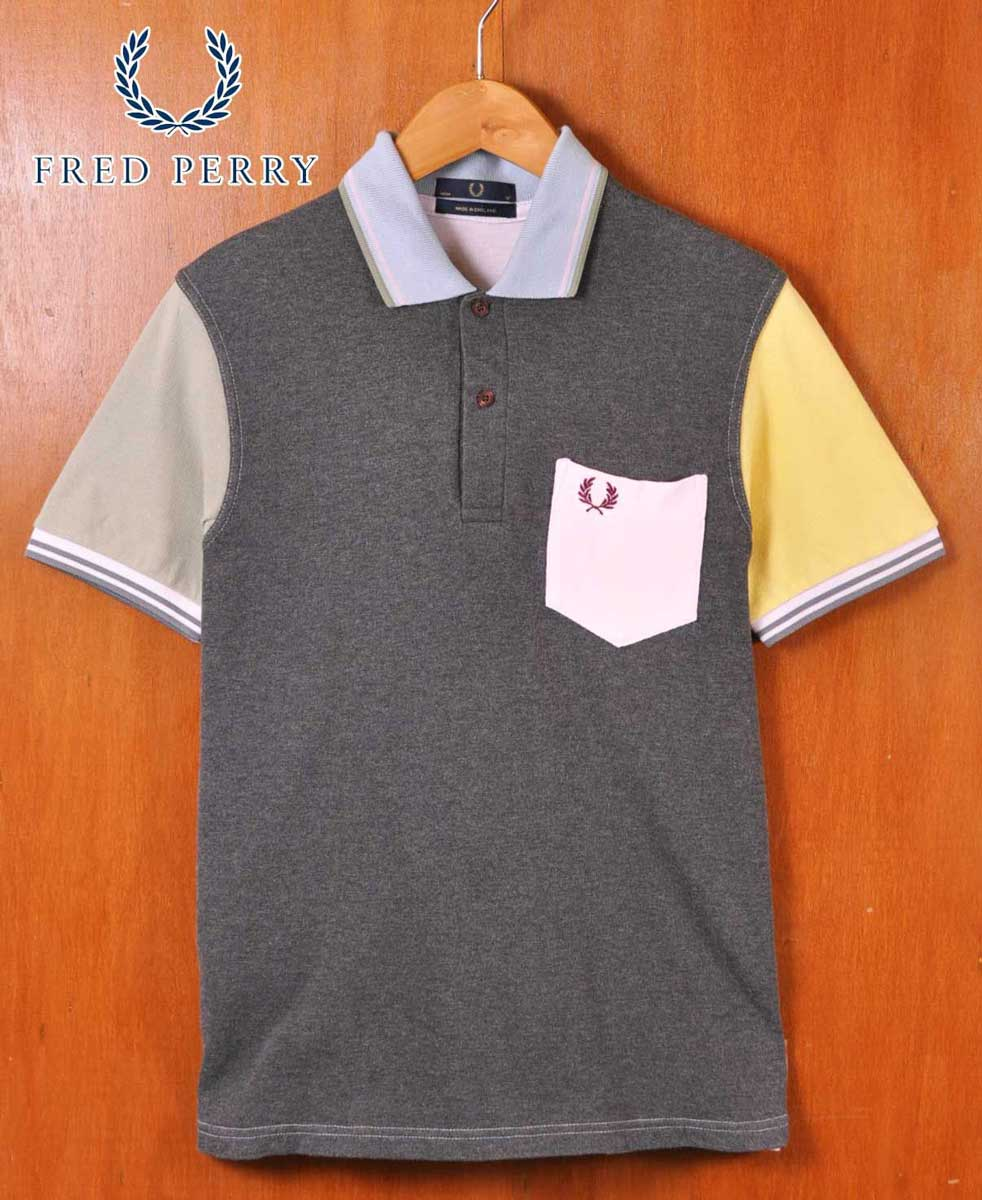 b346197b Short-sleeved polo shirt gray X pastel system multicolored men S  equivalency with the FRED ...