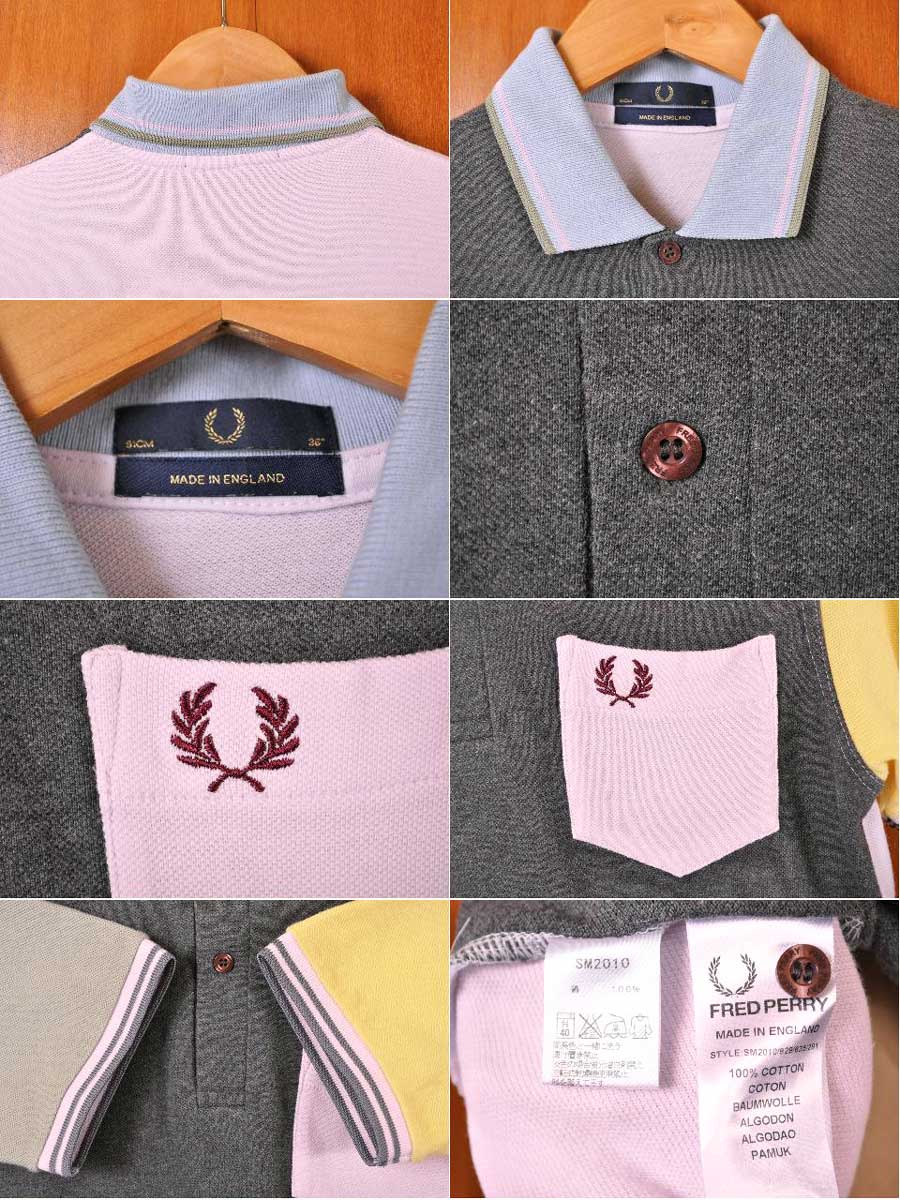 71069425 ... Short-sleeved polo shirt gray X pastel system multicolored men S  equivalency with the FRED