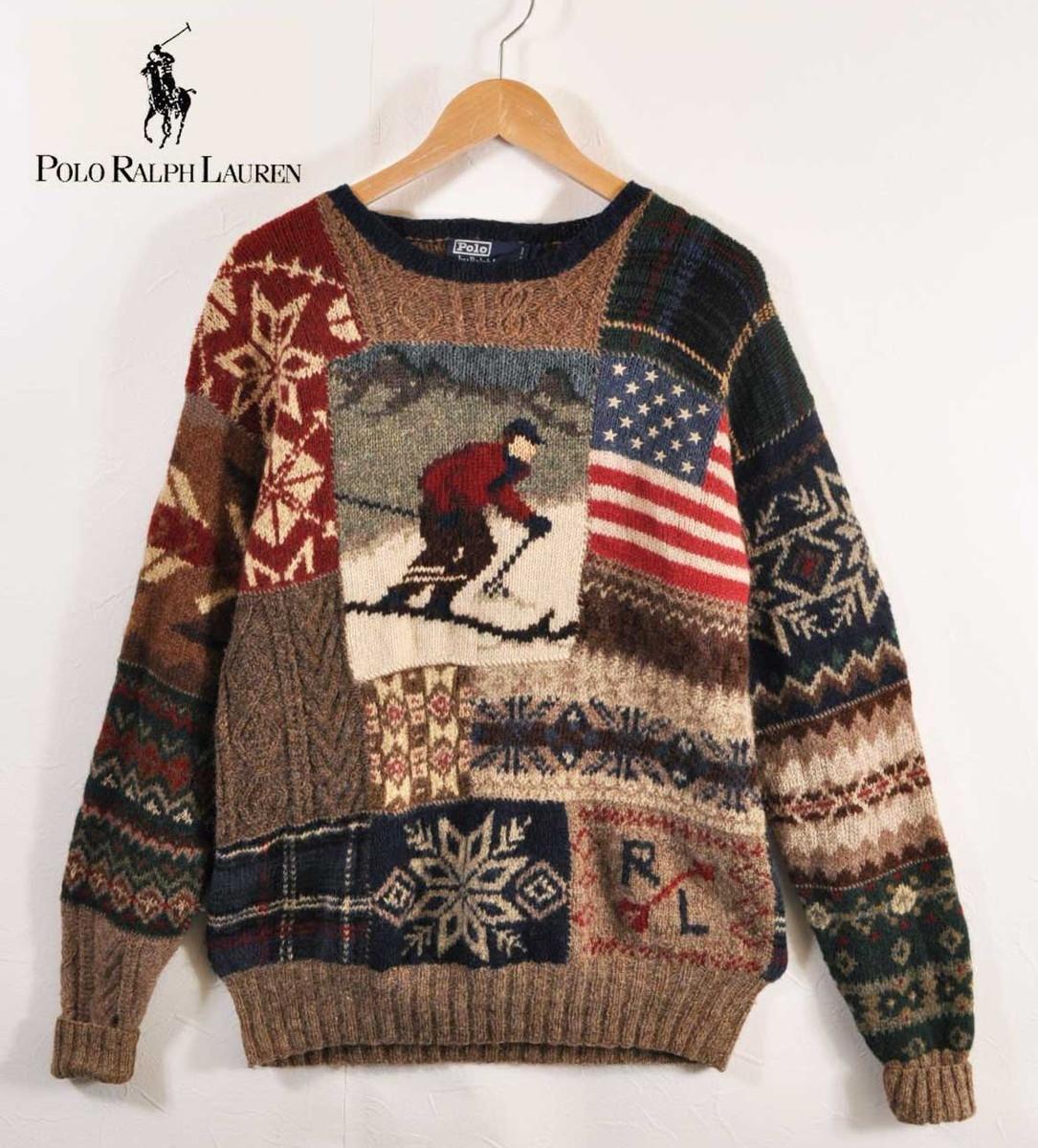 fedf3695b Vintage 1990s POLO Ralph Lauren polo Ralph Lauren hand knit crew neck wool knit  sweater ski ...