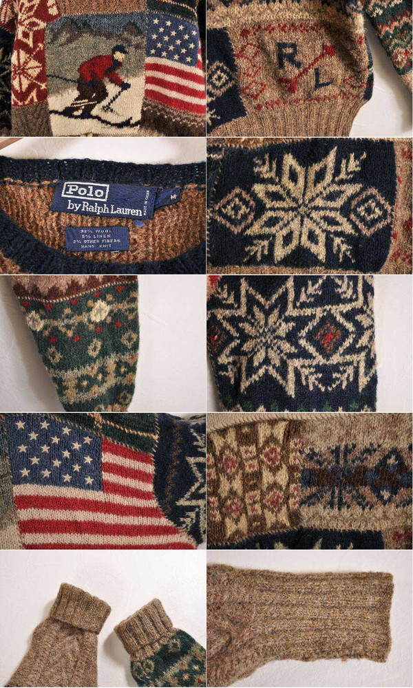 b9de9a700 ... Vintage 1990s POLO Ralph Lauren polo Ralph Lauren hand knit crew neck  wool knit sweater ski