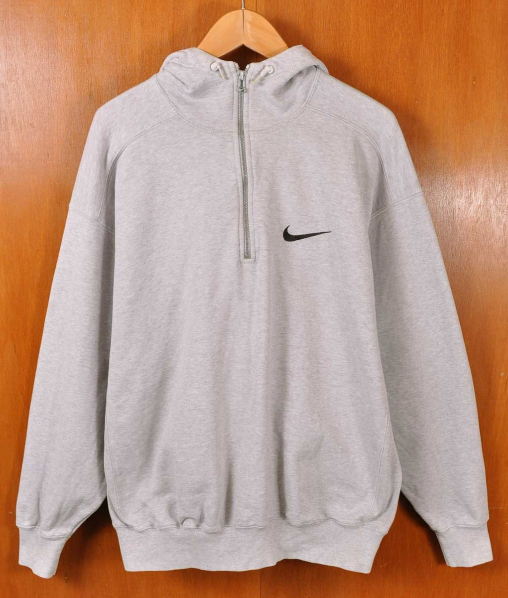 05147a42a03d41 Vintage 1990s NIKE Nike pullover half zip sweat shirt parka marbled beef  gray one point embroidery men L equivalency▽