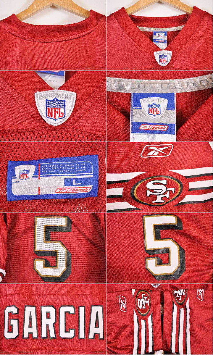 b9ff0278e06 Reebok Reebok NFL SAN FRANCISCO 49ers San Francisco forty-niners Jeff Garcia  football shirt numbering mesh uniform deep red men XL equivalency▽