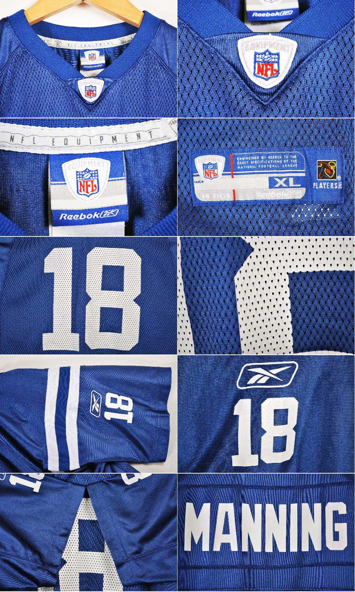 c92ba06f1ca Reebok Reebok NFL Indianapolis Colts Indianapolis Colts Payton Manning  football shirt numbering mesh uniform blue X white lady's XL equivalency▽