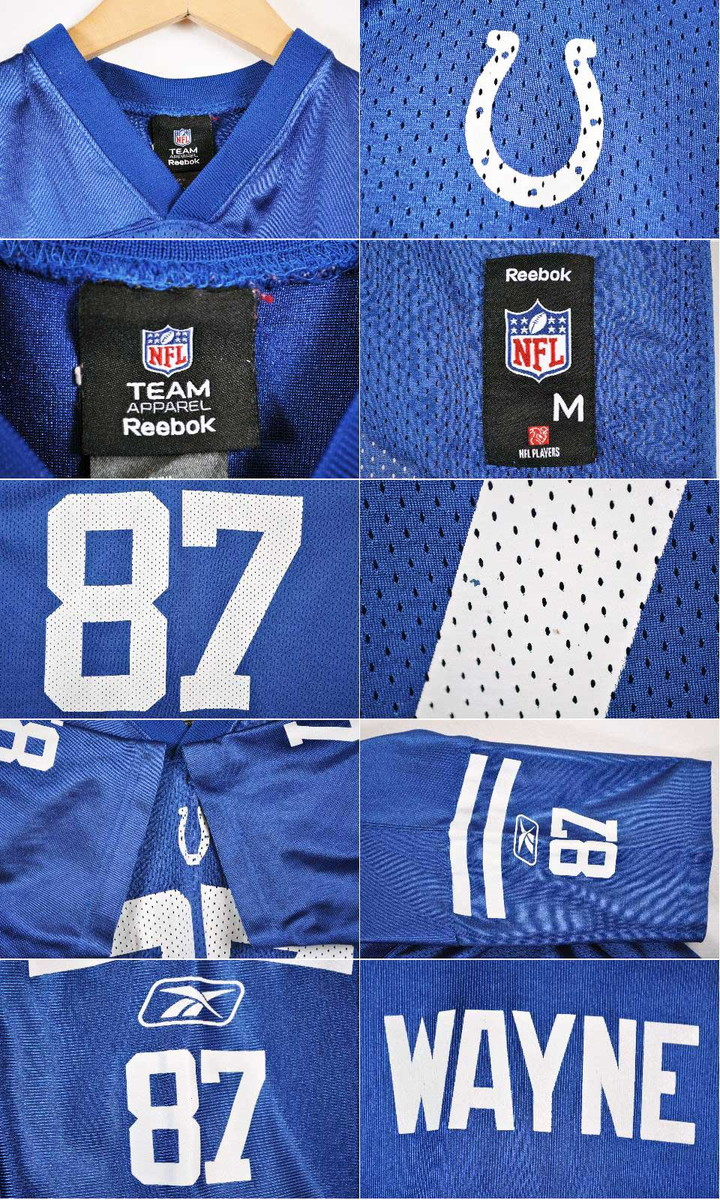 e8530646 Reebok Reebok NFL Indianapolis Colts Indianapolis Colts Reggie Wayne  football shirt numbering mesh uniform blue X white lady's M equivalency▼