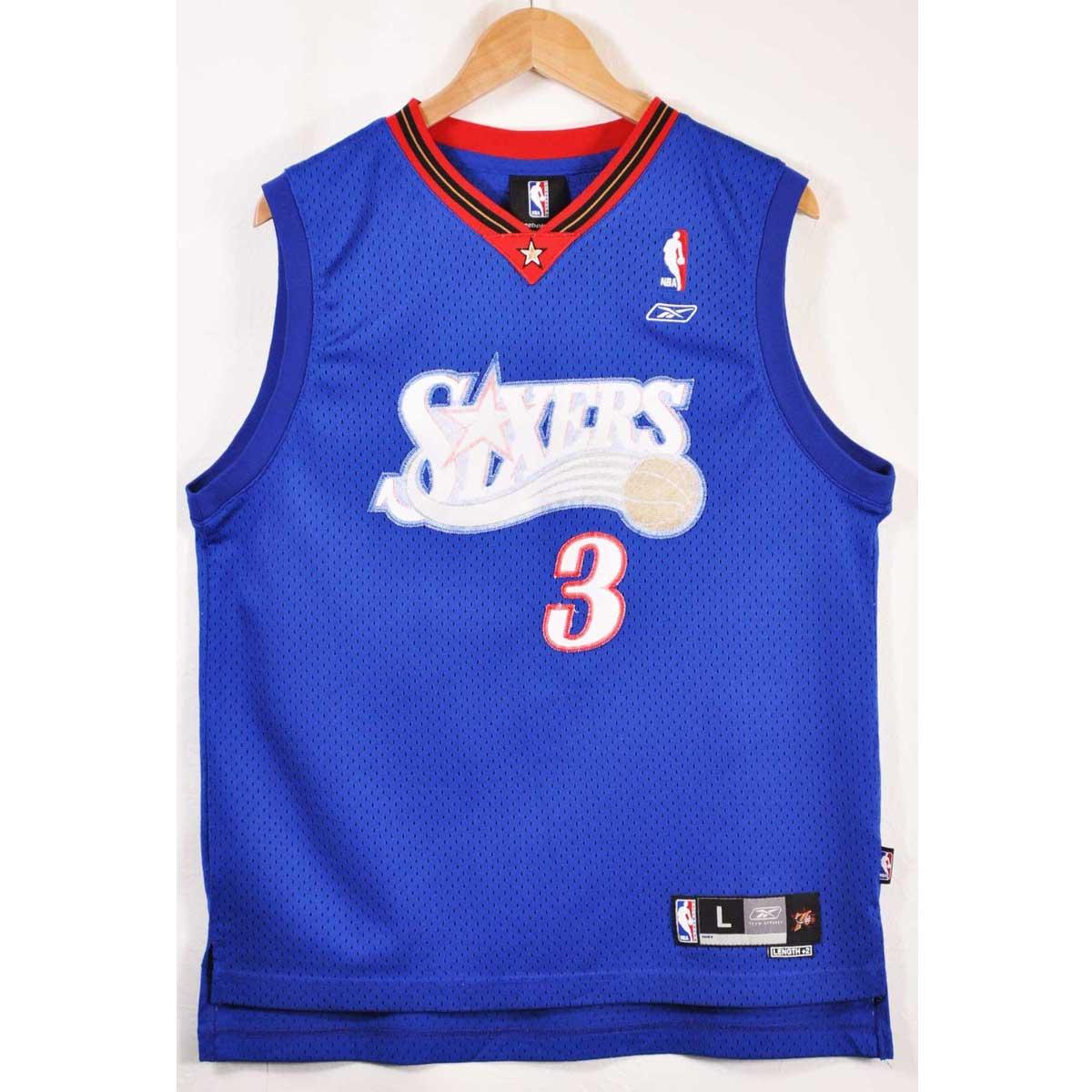 size 40 e977a 8e636 Reebok Reebok NBA Philadelphia 76ers Philadelphia 76ers Allen Iverson  basketball tank top uniform numbering blue Lady's L is considerable▼
