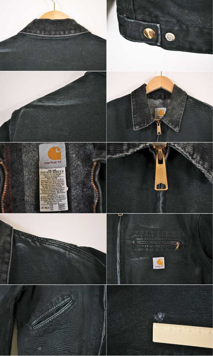 f0f77563bf7 Carhartt car heart DETROIT JACKET Detroit jacket blanket liner cotton duck  work jacket black duck men L equivalency in the vintage 1990s made in USA▽