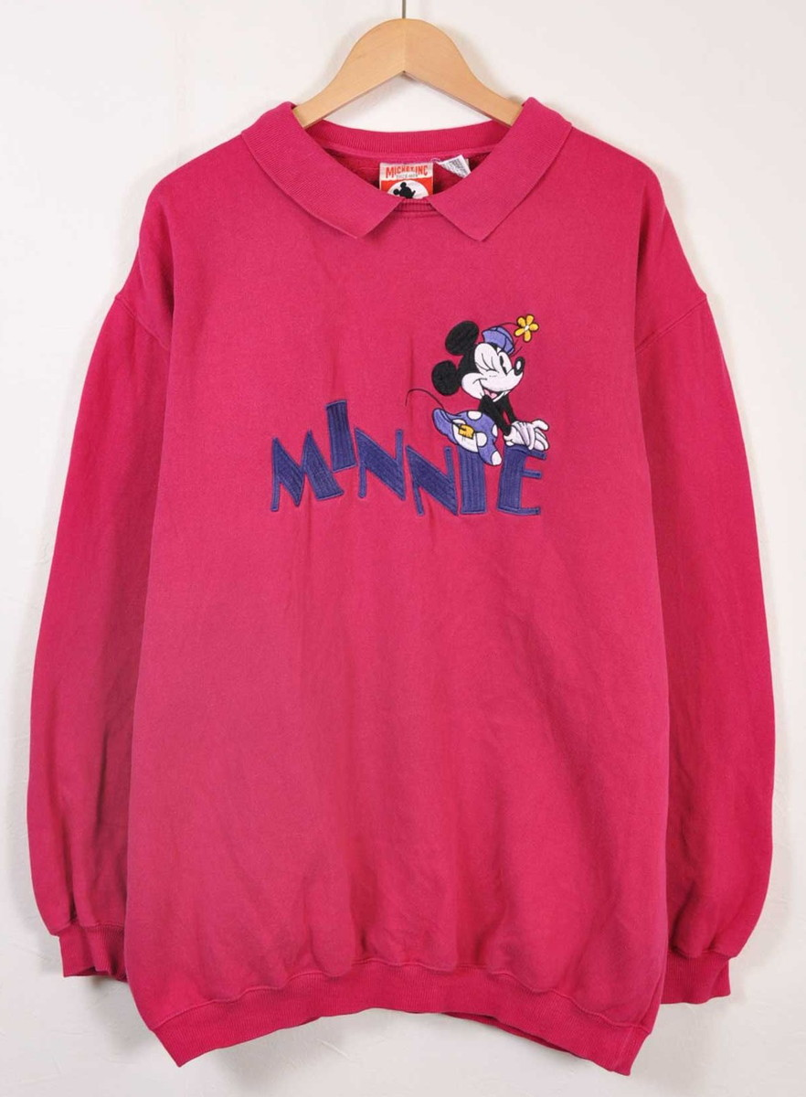6abc1685c5d Sweat shirt magenta pink embroidery men L with the vintage 1990s Disney  Disney MINNIE MOUSE Minnie Mouse collar▽