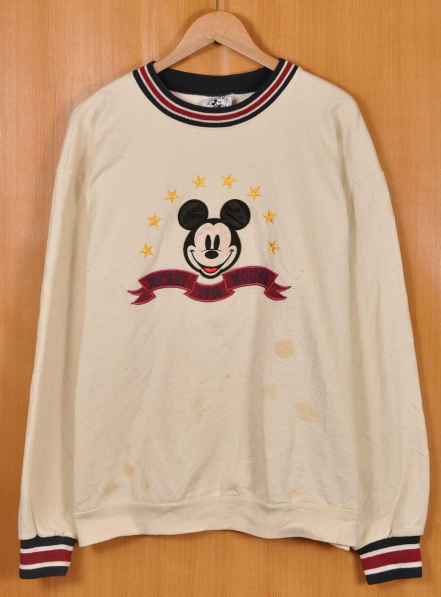 455be0dd4d6 Vintage 1990s Disney Disney MICKEY MOUSE Mickey Mouse sweat shirt cream  emblem embroidery men L▽