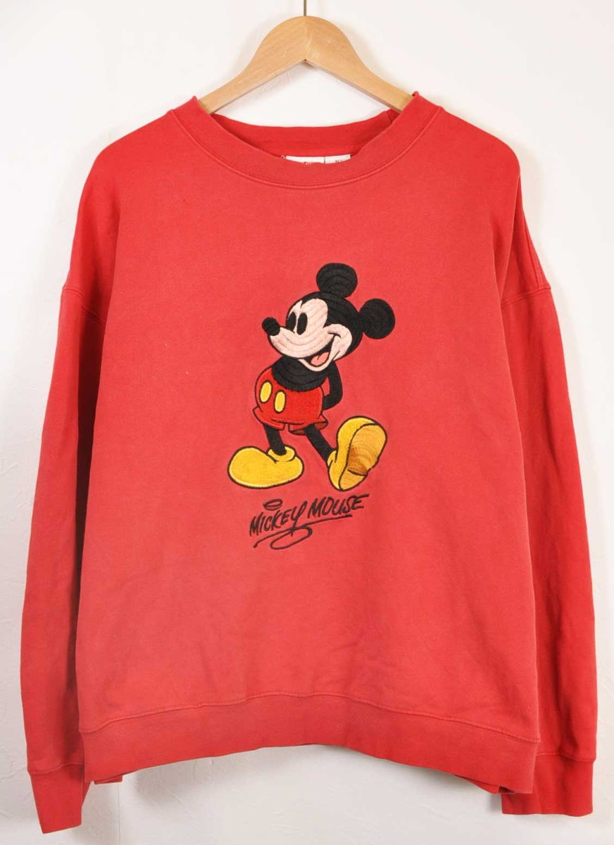 246d4c3497b Vintage 1990s Disney Disney MICKEY MOUSE Mickey Mouse sweat shirt red  embroidery Lady s XL▽