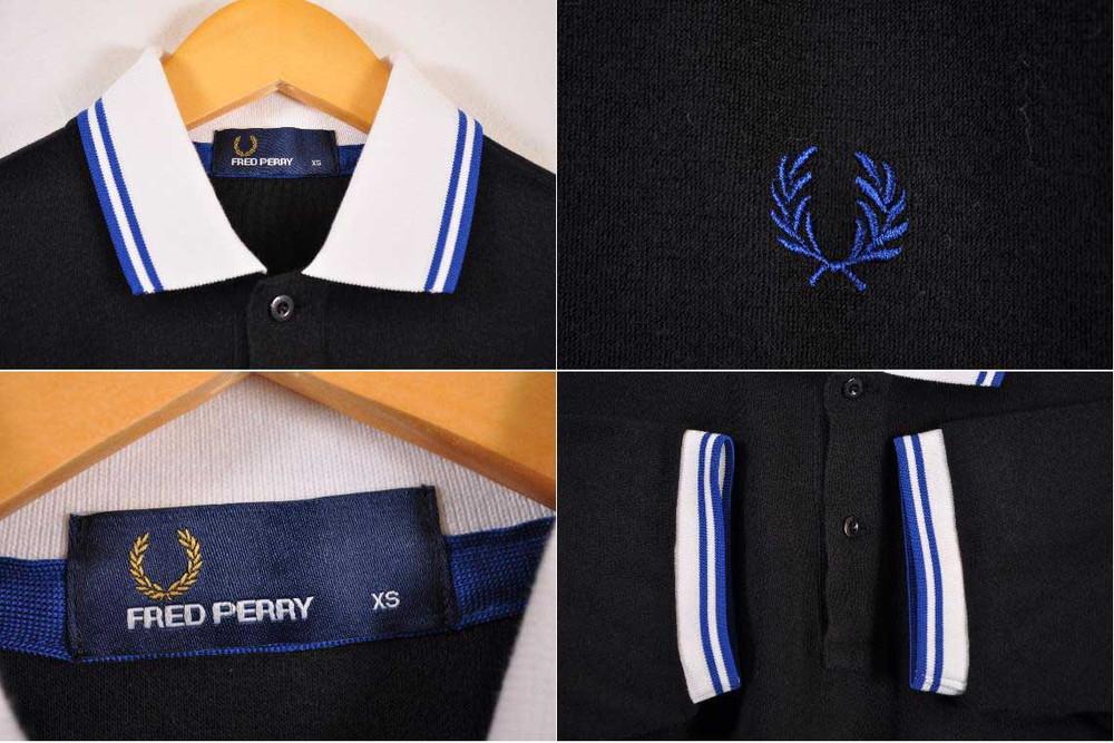 108e0db3 FRED PERRY Fred Perry short sleeves polo shirt black X white rib X blue rib  line men XS made in Japan▽