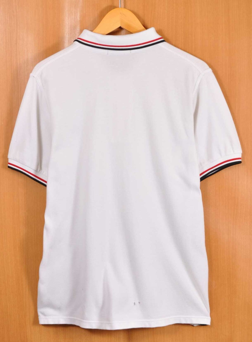 c02929bf ... FRED PERRY Fred Perry short sleeves polo shirt white X black / red rib  line front ...
