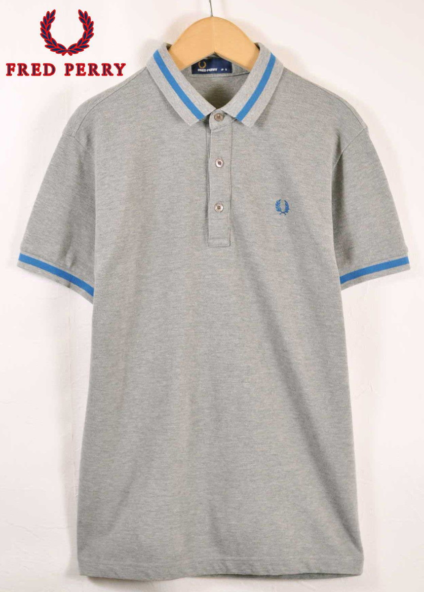 8b49fafd FRED PERRY Fred Perry short sleeves polo shirt gray X blue rib line men S  made ...