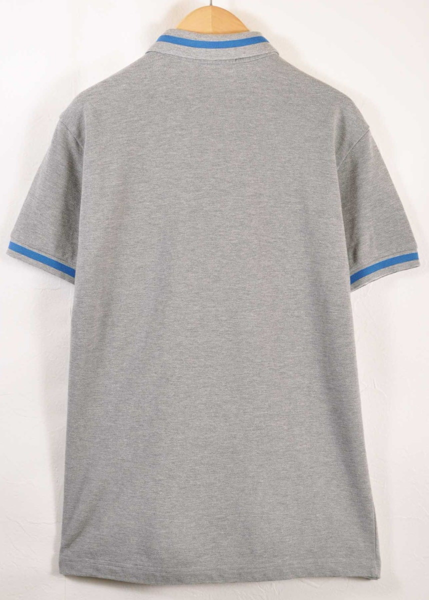 64faf2a7 ... FRED PERRY Fred Perry short sleeves polo shirt gray X blue rib line men  S made ...