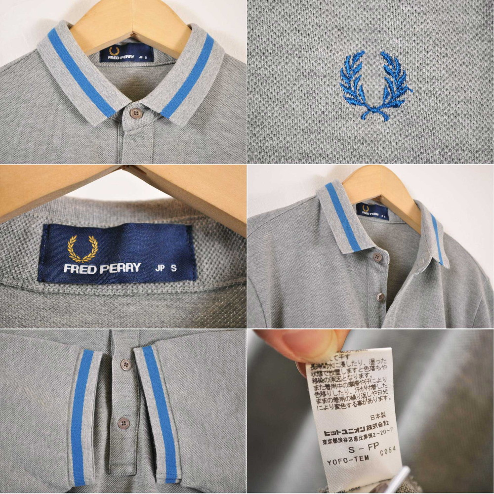 6a1a5933 ... FRED PERRY Fred Perry short sleeves polo shirt gray X blue rib line men  S made