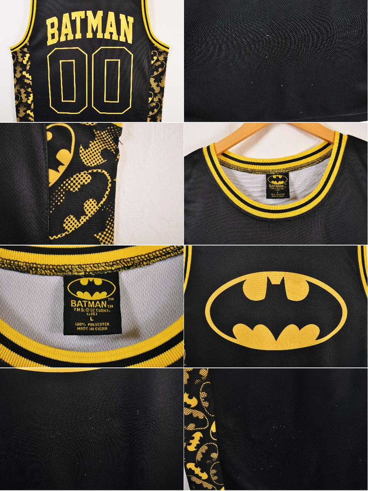 4d2e895f17b ... DC COMIC BATMAN battement basketball tank top-style mesh tank top black  X yellow numbering