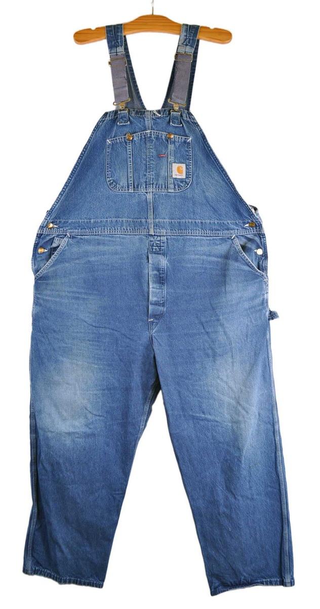 【ビッグサイズ】USA製 Carhartt カーハート ワーク デニム オーバーオール デニムブルー W50【中古】■