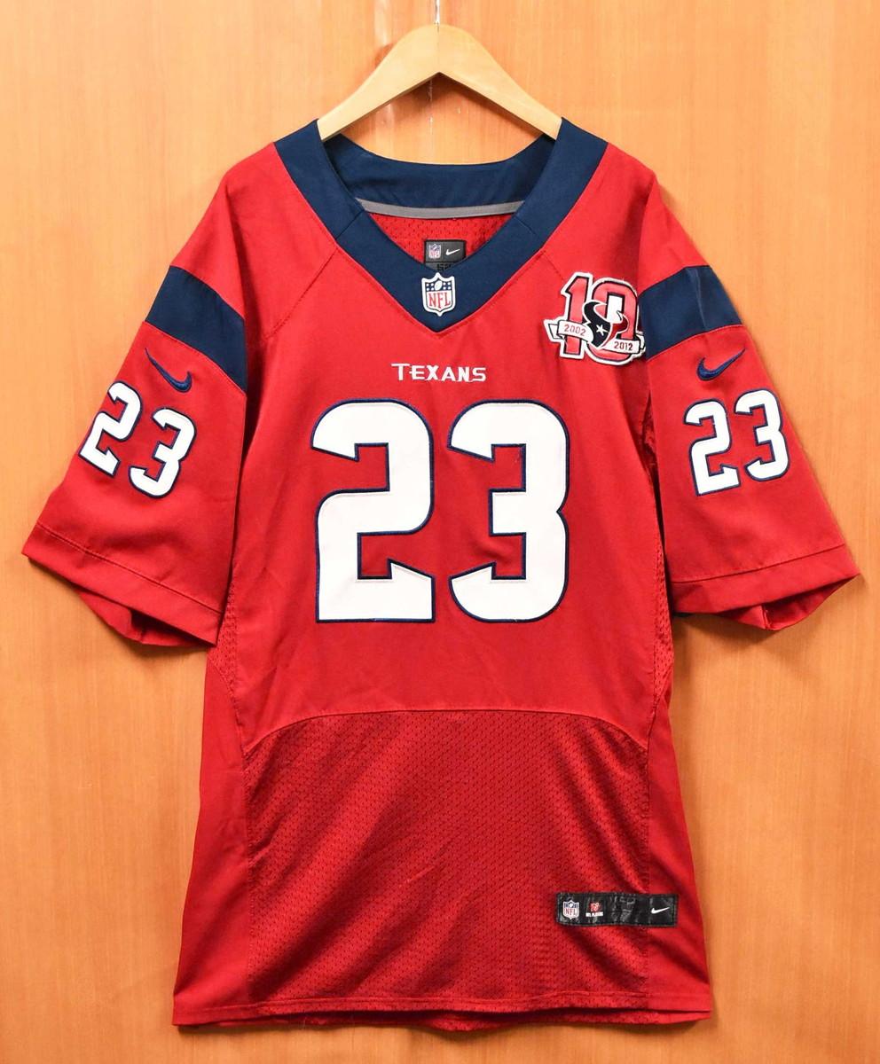 [メンズ2XL相当 / 状態:B]a21 【ビッグサイズ】NIKE ナイキ NFL Houston Texans ヒューストン・テキサンズ 10周年 Arian Foster アリアン・フォスター フットボールシャツ ナンバリング メッシュ ユニフォーム レッド メンズ2XL相当【中古】■