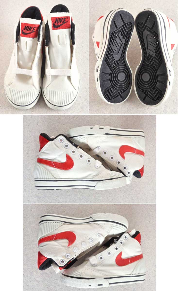 Vintage 1987-with box for Kids and DeadStock/NIKE Nike / HOOP HIGH hoops  high for kids high cut canvas sneakers basket shoes / White x red canvas  and ...