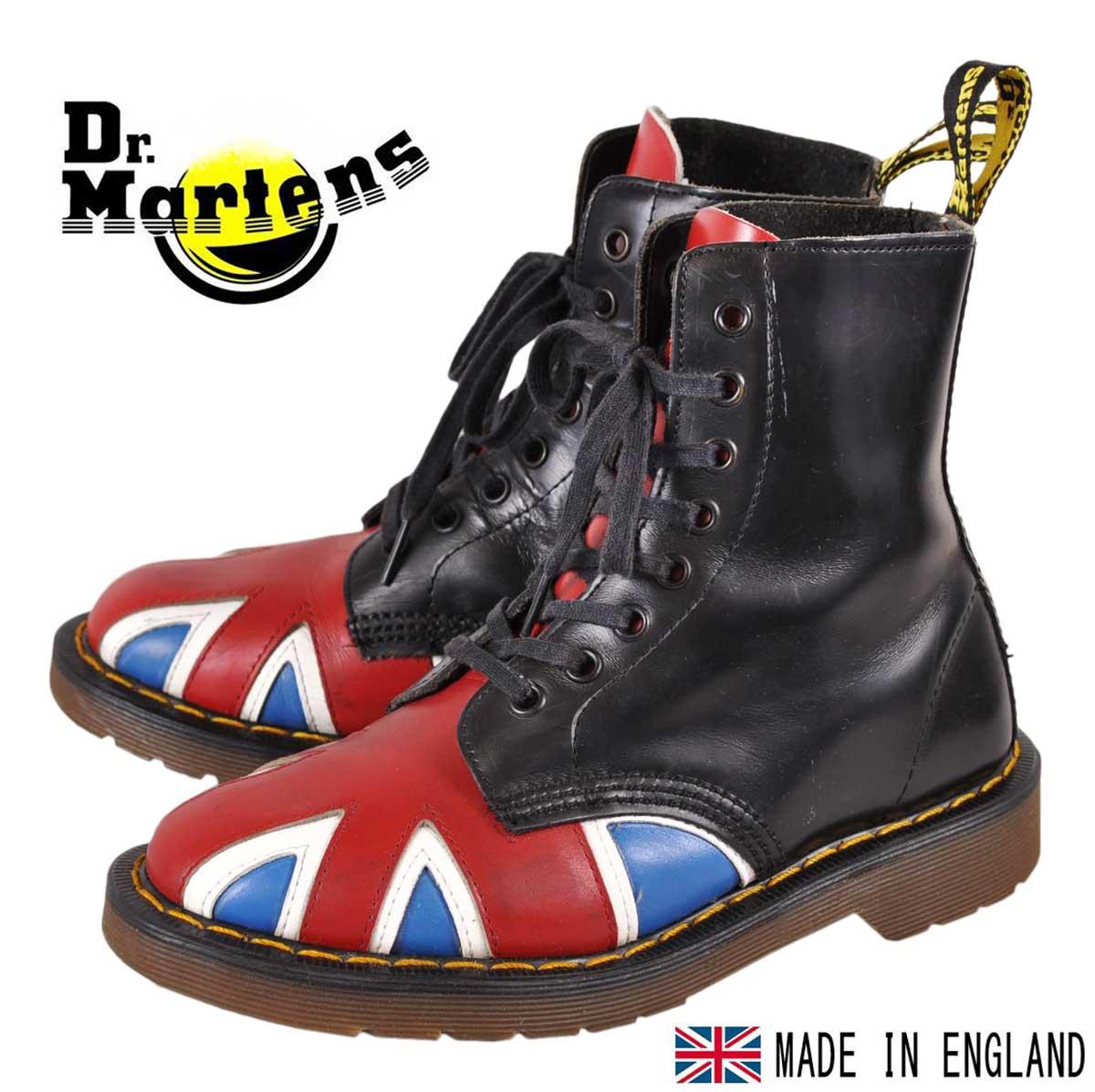 376057d51ea Made in England vintage original Union Jack   Dr.martens × GEORGECOX Dr.  Martens x George Cox   8 hole boots black x Union Jack design England flag  pattern ...