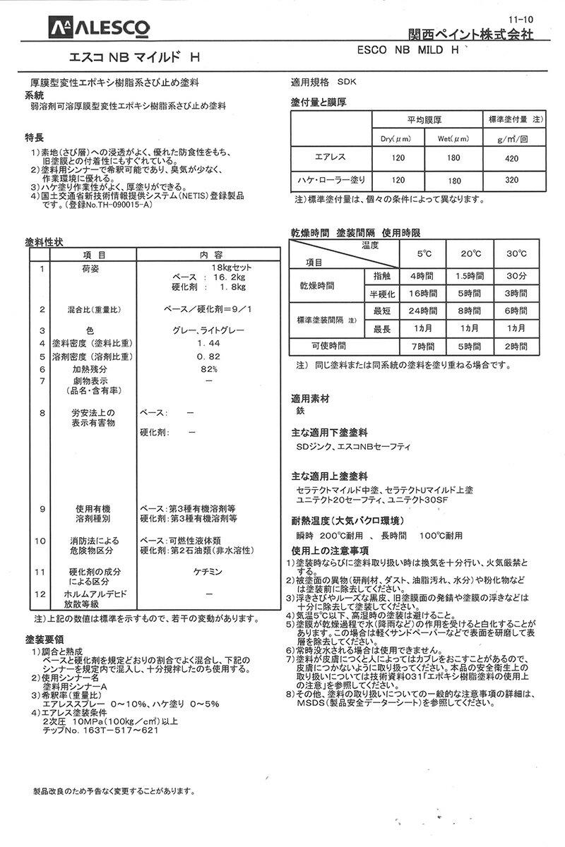 【送料無料】エスコNBマイルドH グレー 18Kg/セット 関西ペイント ペンキ 塗装 鉄部 防食