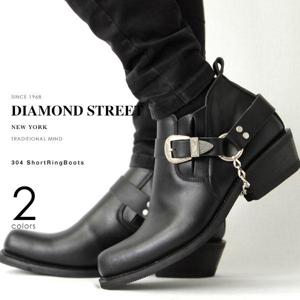 DIAMOND STREET/ダイヤモンドストリート 304 本革 ショートリングブーツ ブラック ブラウン 黒