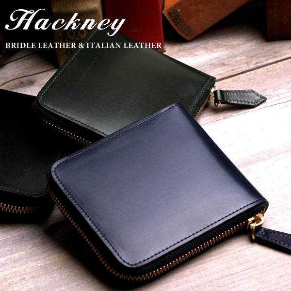Hackney/ハックニー HK-800 ラウンドファスナー 二つ折り財布 小銭入れ レザー ブライドルレザーイタリアンレザー メンズ
