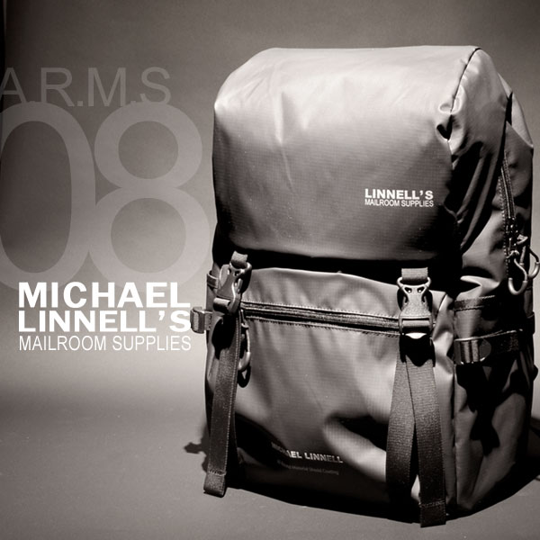 MICHAEL LINNELL/マイケルリンネル A.R.M.Sシリーズ MLAC-08 フラップ リュック バックパック 27L メンズ アーミーコーティング 多機能 ブラック