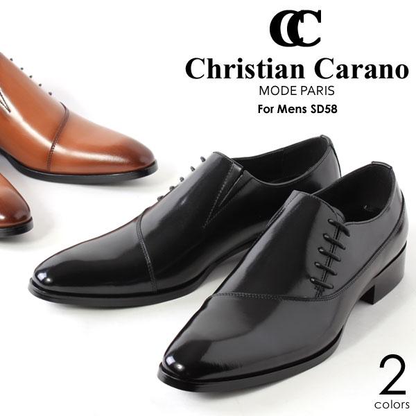 ChristianCarano/クリスチャンカラノ ビジネスシューズ メンズ サイドレース 本革・日本製 レザー 靴 黒 ブラック 短靴 SD-58