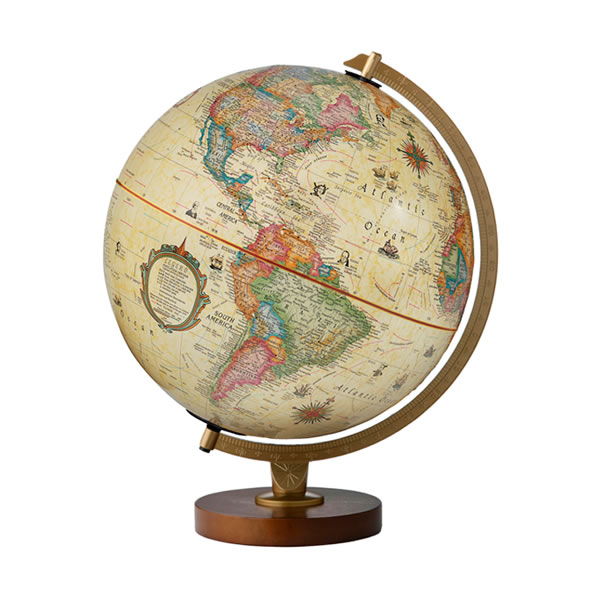イルミネーション地球儀 パノラマ・アンティーク型 30cm 【英語版】 渡辺教具 83500 【取り寄せ商品】