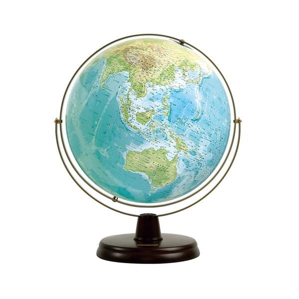 衛星地形地球儀 地勢WP (木台) 渡辺教具 No.3300 【取り寄せ商品】