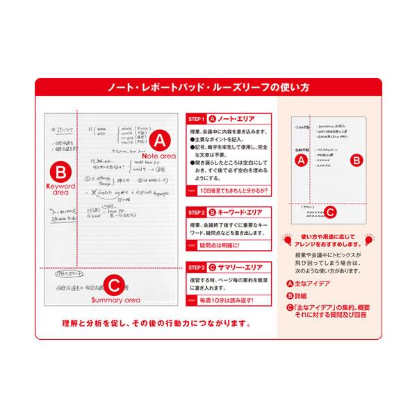 コーネルメソッド B5ルーズリーフ 6mm罫線 【B罫】 学研ステイフル D024-13