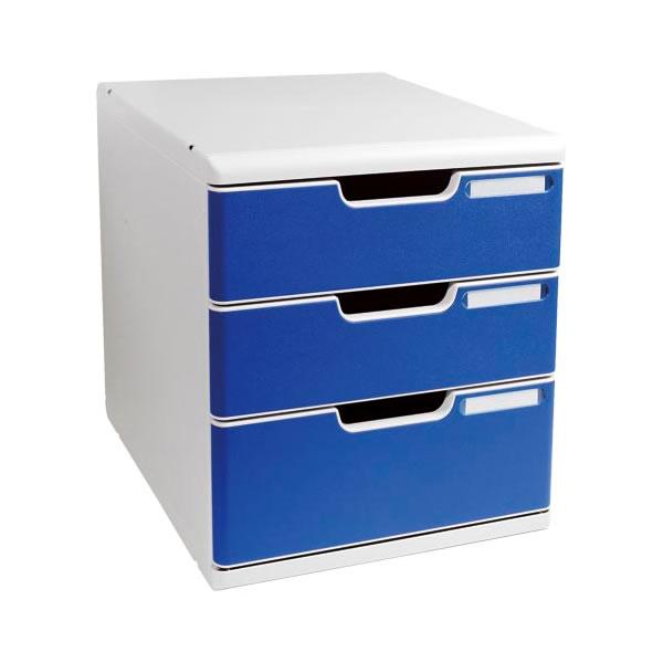 レターケース オフィスセット システム 格安店 A4タテ型 蔵 3段引き出し 0325-4003 ブルー ライトグレー エグザコンタ
