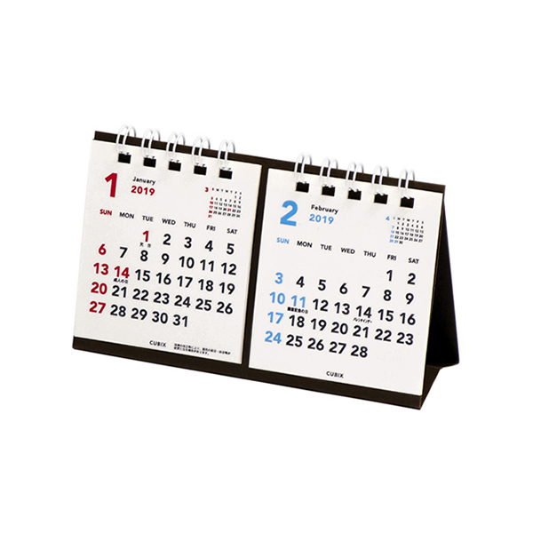 楽天市場 2019年ベーシック プチプチ卓上2ケ月カレンダー ホワイト