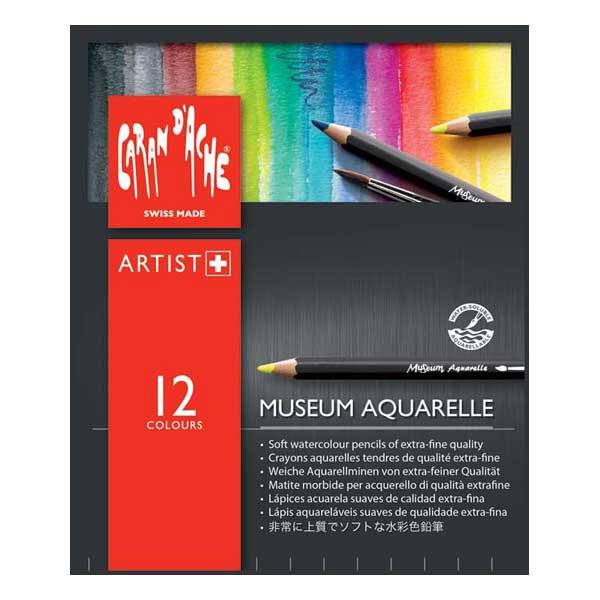 Caran d'Ache Colored pencil Museum Aquarre water-soluble Colored pencil 3510-312 12 color set (paper box insertion)